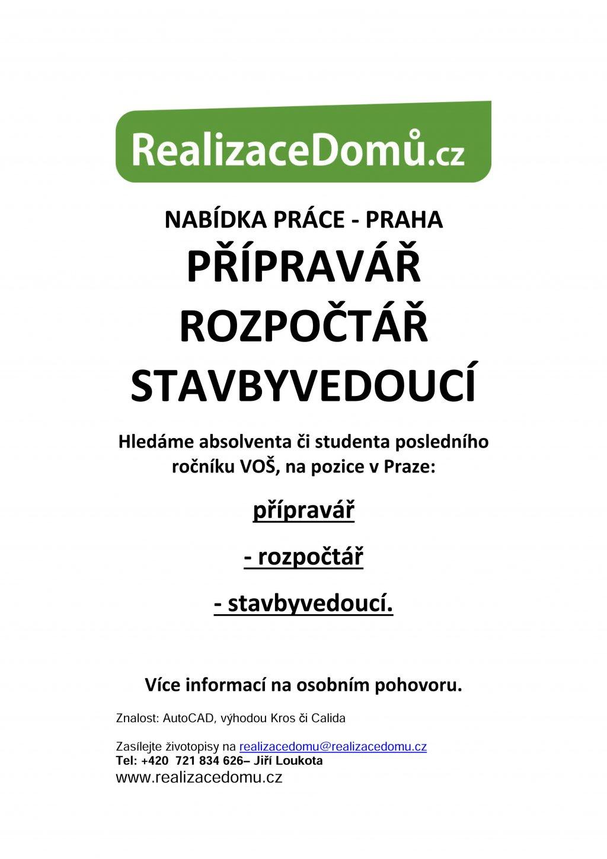 5436f50ad Nabídka práce - Praha: přípravář, rozpočtář, stavbyvedoucí ...